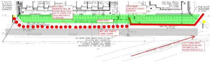 Spencer Road Sidewalk Work Diagram